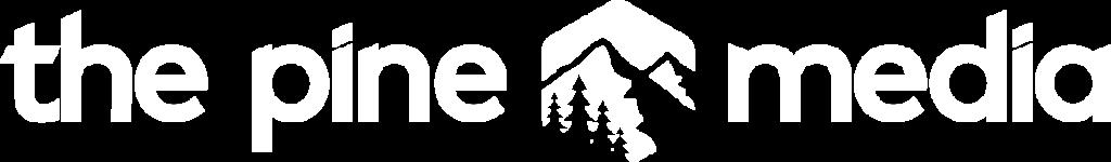 the pine media white logo